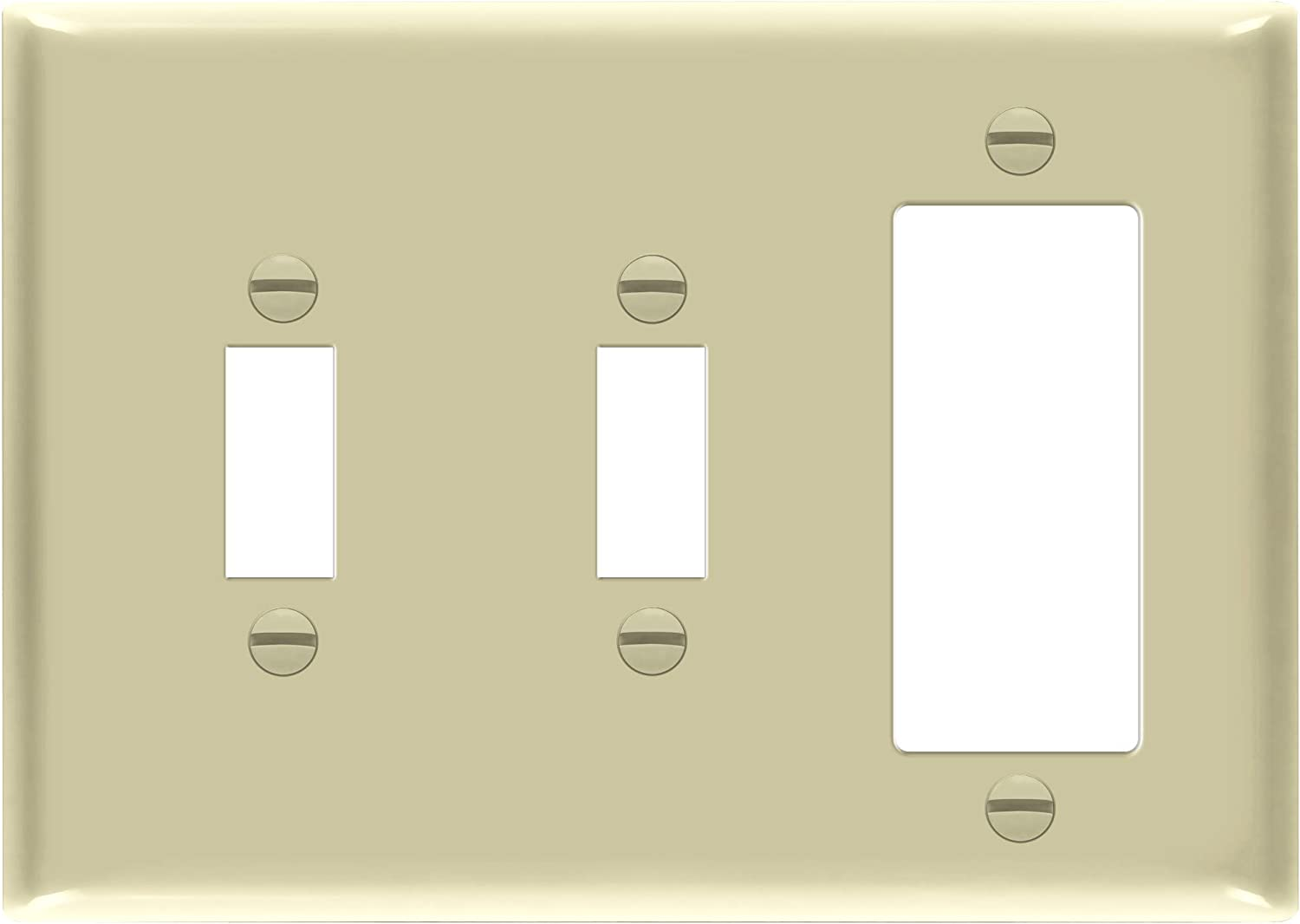 ENERLITES Combination Decorator/Toggle Light Switch Wall Plate, Standard Size 3-Gang, Polycarbonate Thermoplastic, 881231-I, Ivory