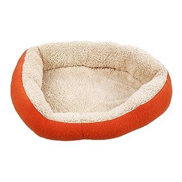 Vktech-perro y Gato caliente suave camas para mascotas Almohada Cama Cachorro Sofa Sofa Mat perrera Pad Color Naranja Tamaño 15.74 x11.8x3.15 pulgadas: ...
