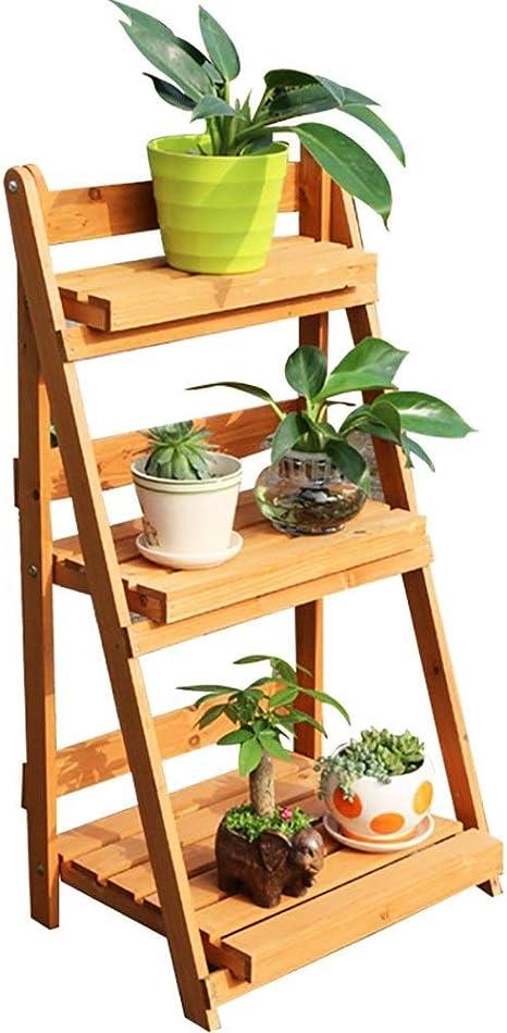 MMWYC Flower Steps - Escalera para plantas de madera de 3 niveles, estante para macetas, estante para macetas, soportes de plantas de bambú plegables Soporte para jardinería Escalera para estantes par: Amazon.es: