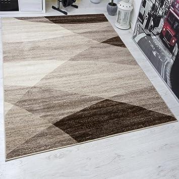 moderner wohnzimmer teppich geometrisches muster meliert in braun beige 80x150 cm - Teppich Geometrisches Muster