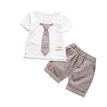 Luckiests El bebé Corbata Manga Corta Camiseta Pantalones Señores ...