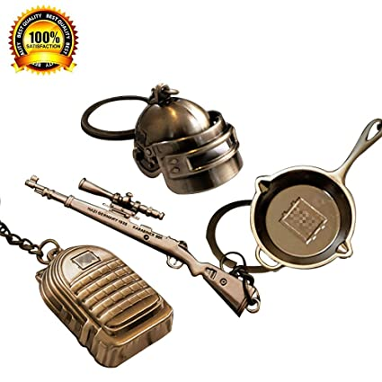 hebensi 4 Pcs Metal Keychain Including Level 3 Helmet Backpack 98K and  Frying Pan Iron Key Ring Pendant