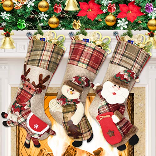 Dreampark Christmas Stockings 3 Pack Classic Plaid Xmas Stocking 18quot Big Size  Santa Snowman Reindeer Character Christmas Decorations
