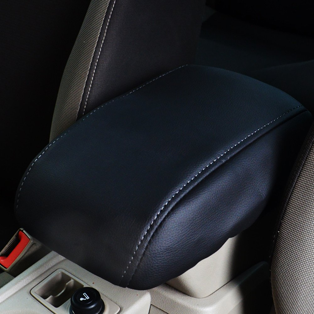 Bwen fsx40032w Car Center Console Cover 1 Pc Black With White Stitches Armrest Box Cover Saver Fit For 2014 2015 2016 2017 2018 Ford Escape