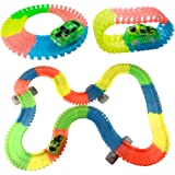 Glow Flexible Track Set, Glowing Racing, Assemble Car Track for kids over 3 years old (192 Pieces + 1 LED car)