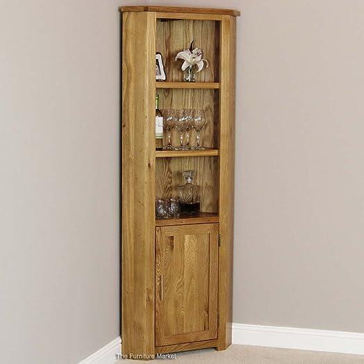 New London Solid Oak Tall Corner Display Cabinet Unit: Amazon.co ...
