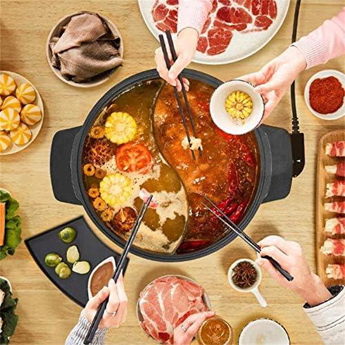 JINBAO Hot Pot, 4L Multi-Function 2 Grid Hot Pot électrique, Pot antiadhésif, Outils de Cuisine à Domicile, Chauffage Uniforme, Contrôle de la température à Bouton