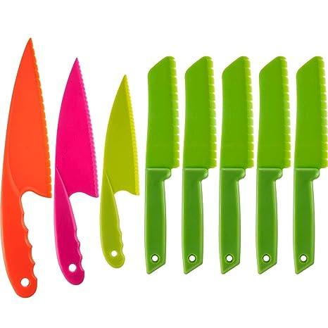 Jovitec - Juego de 8 cuchillos de cocina de plástico para ...