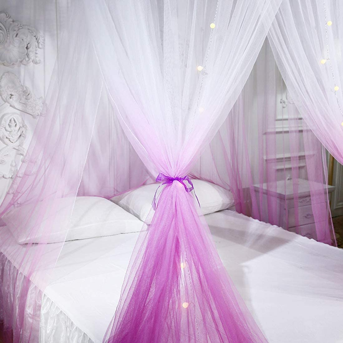 Bverionant Mosquitero con Dosel Repelente de Insectos Mosquitera de C/úpula Mosquitero Decorativo para Cama Individual Matrimonial Doble Azul