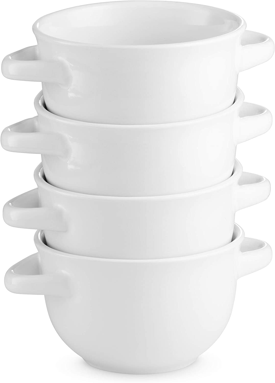 Soup Crocks with Handles, Ceramic Make, Soup, Chilli, by KooK, 22oz, Set of 4 (White)