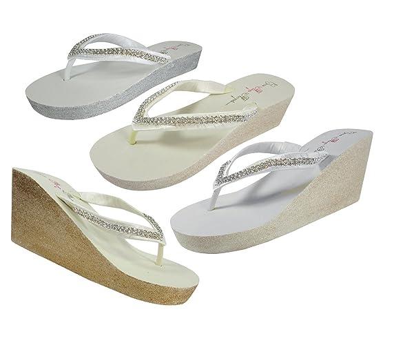 Amazon.com  Flip Flops in Silver and White Diamond Rhinestone Low Wedge Heel a8ffcca57c60