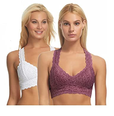 440a9563b1a301 Felina Women s Comfortable Sexy Lace Racerback Bralette (Pack Of 2) (Small