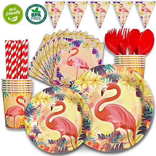 Tablecloth Triangles Pool (DuoCute Flamingo Party Supplies Tropical Pink Theme Pack, Summer Kid's Birthday Party Supply Set 12 Guests / 86 Pieces (Forks,Spoons,Cups,Napkins,9