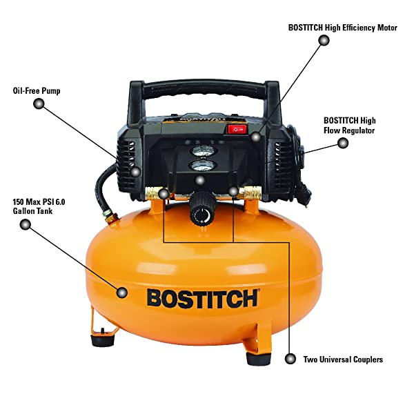Bostitch BTFP02012 is one of the best 150 psi air compressor with high-efficiency