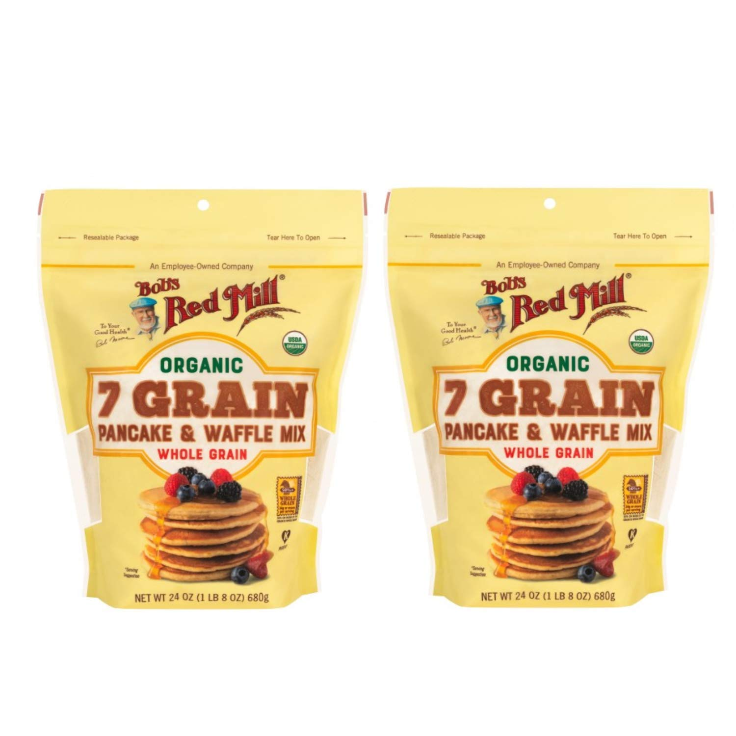 Bob's Red Mill Organic 7 Grain Pancake & Waffle Mix 24 oz (Two Pack) - Multigrain Organic Pancake and Waffle Mix - Double Pack Pancake and Waffle Mix (Two 24 oz resealable bags)