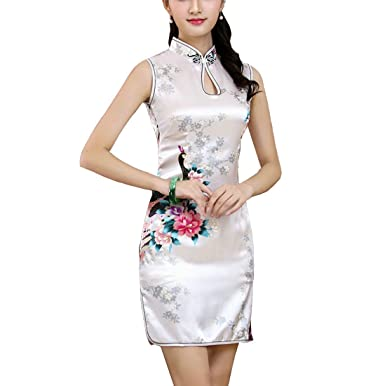 Manche Chinois Qipao Court tmFemme Traditionnel Paon Sans Robe Eté Motif Avec Xuexian Cheongsam wTiOXPkZu