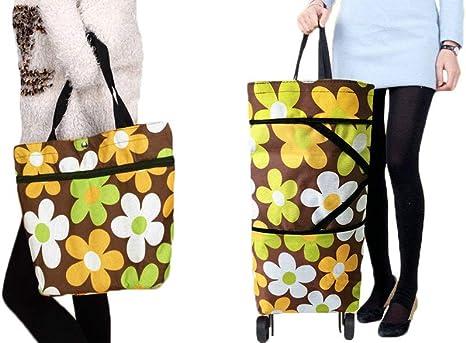 Reusable Foldable Shopping Bag Floral Handbag Large Capacity Grocery Bag Tote CA