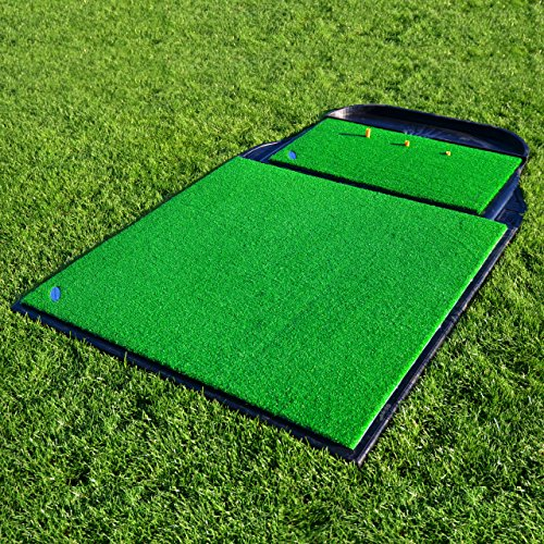 FORB Pro Driving Range Golf Practice Mat (78in x 48in) – Stance Mat, Hitting Mat, Rubber Base & Golf Ball Holder [Net World Sports]