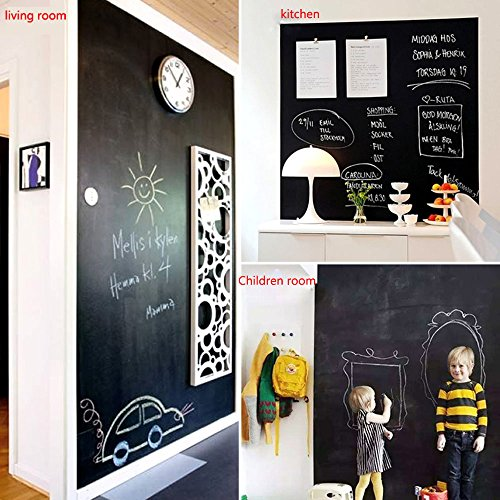 Chalkboard Contact Paper - Chalkboard Sticker Wall Decal with 5 Colored Chalks - Self-Adhesive Wall Sticker Wall Paper Blackboard Wall Decals for School,Office, Home(18''x79'', Black) by ZCHING (Image #2)