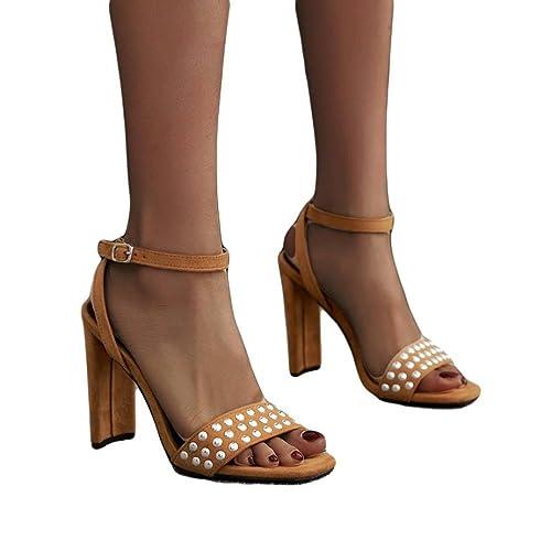 e1bf3b424fdb Womens High Heel Sandals Buckle Simple Fashion Rivet Studded Heels Khaki