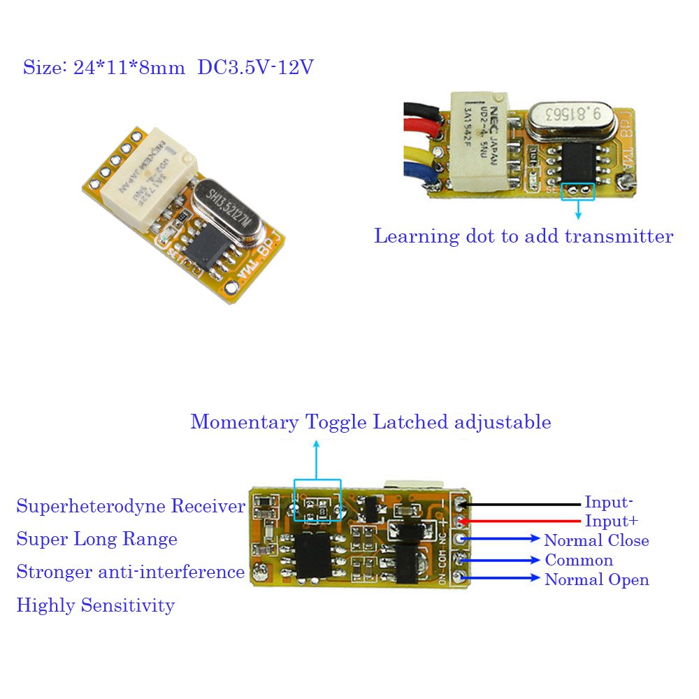 DC3.5V-12V  Wireless RF Remote Control Receiver Relay Switch Transmitter 433Mhz
