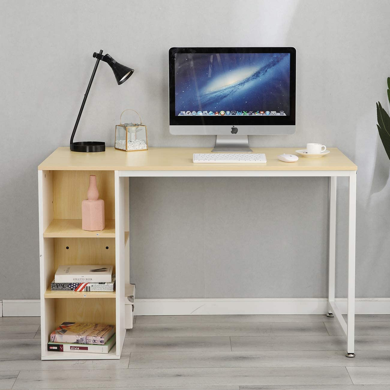 soges Home Office Writing Desk Computer Table Study Workstation with Shelf,DX-2466MW