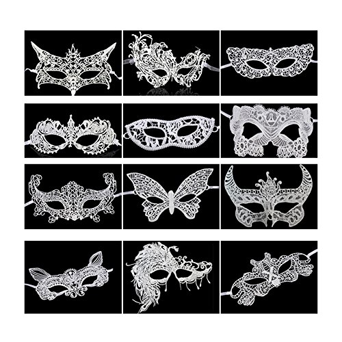 Partyfareast Women's Sexy Lace Venetian Masquerade Masks Set Halloween Party (white) ()