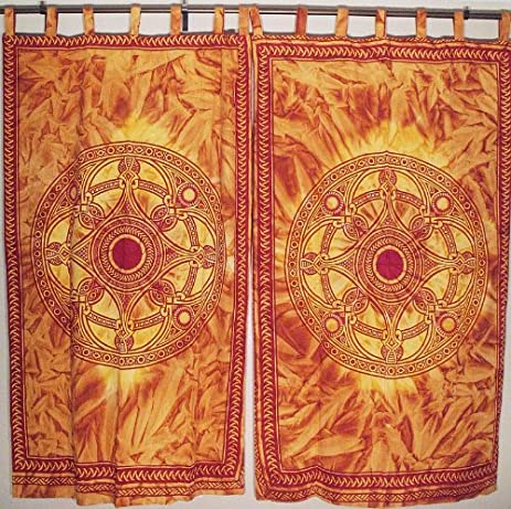 2 Cotton Window Treatment Curtains Ethnic Indian Orange Block Print Fabric  80u201d