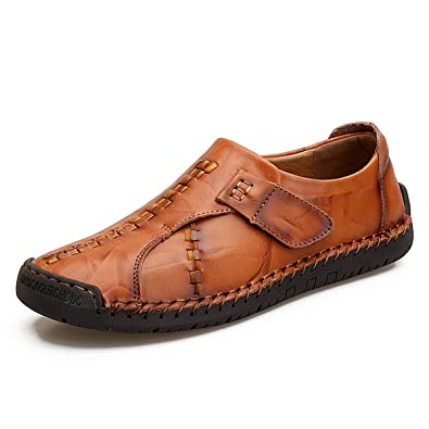 8a01220b172ed TQGOLD Mens Casual Leather Loafers Handmade Slip-On Comfortable Moccasins  Shoes Driving Fashion US 5.5-14