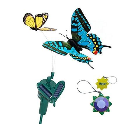 Merveilleux HQRP Pair Of Solar Powered Flying Fluttering Butterflies Yellow Monarch And  Blue Swallowtail For Garden Plants