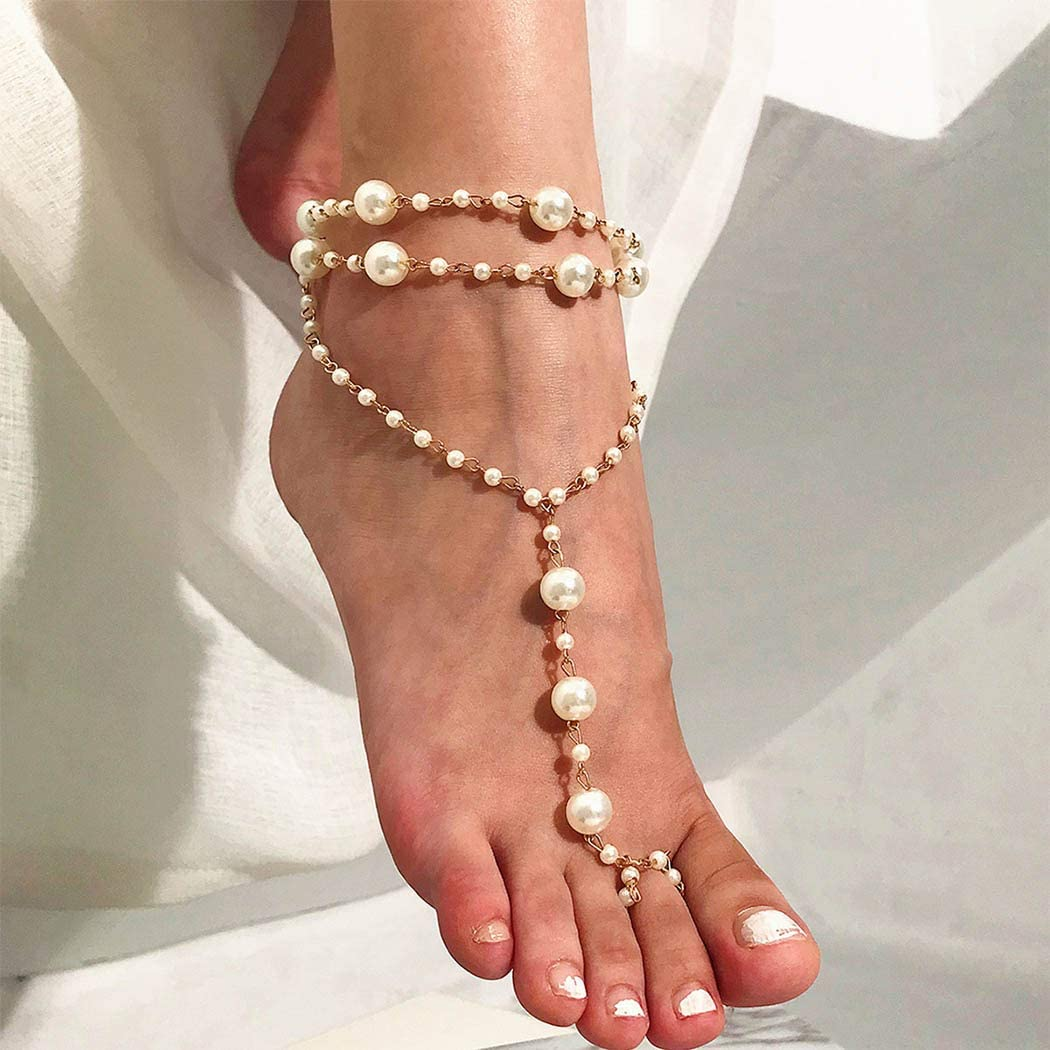 Genbree Pearl Barefoot Sandals Anklet Boho Layered Ankle Bracelets Toe Ring Wedding Summer Beach Foot Chain Gold for Women and Girls 1Pc