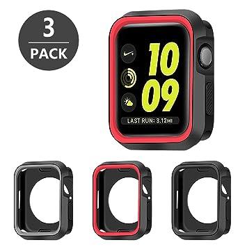 SYOSIN Funda Compatibile con Apple Watch 44mm [3 Unidades] Carcasa de Silicona Suave Completa Protectora Cubierta para Apple Watch 44mm Serie 5 / ...
