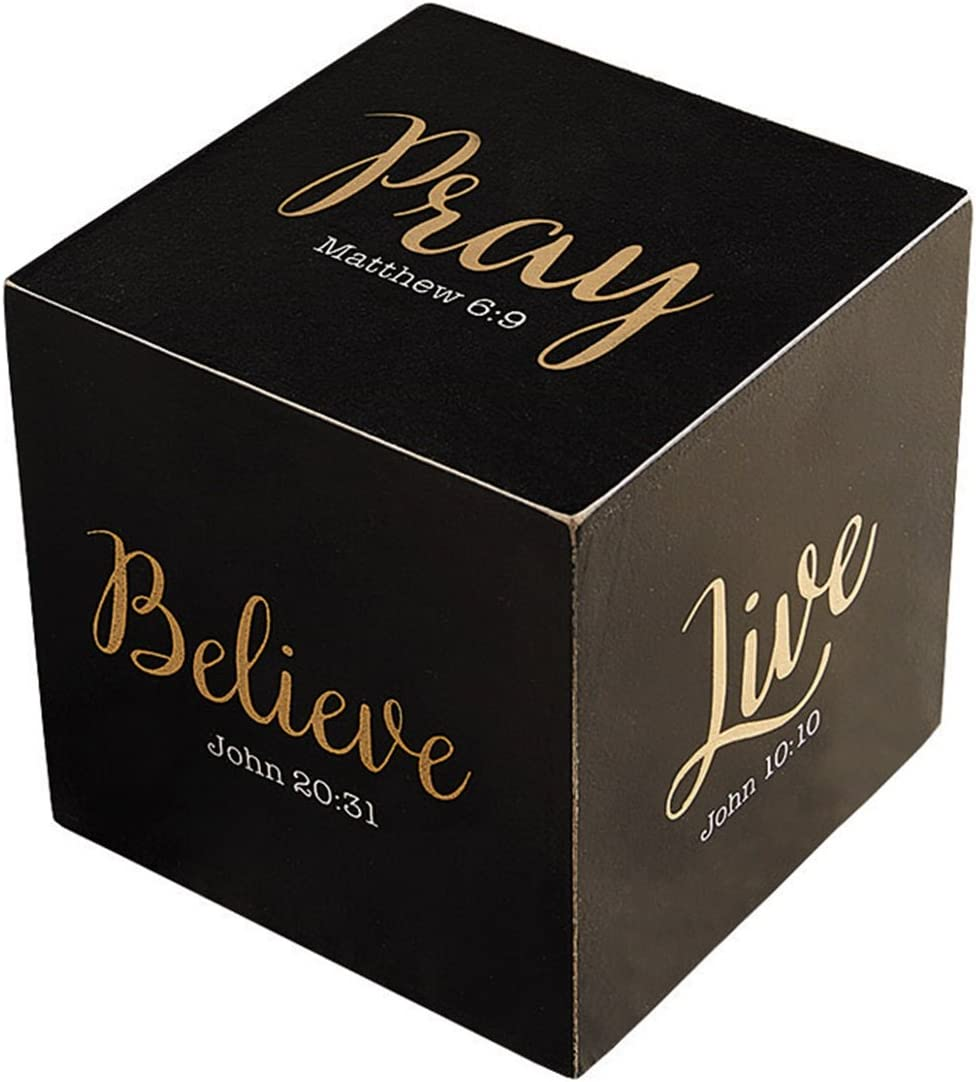 Inspirational Jumbo Black Metallic Verse Prayer Cube Decoration, 3 3/4 Inch