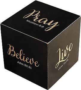 Inspirational Jumbo Black Metallic Verse Prayer Cube Decoration, 3 3/4 Inch