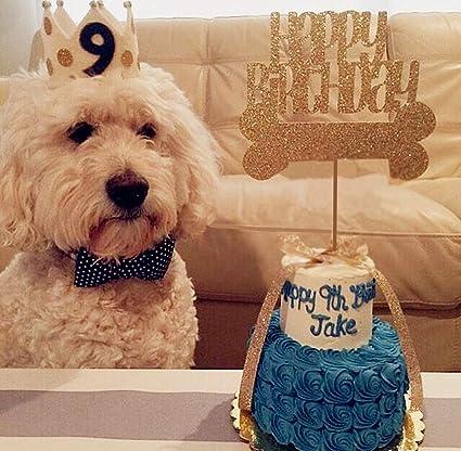 Amazon.com: JeVenis Glitter Dog Birthday Cake Topper Dog Bone Cake ...
