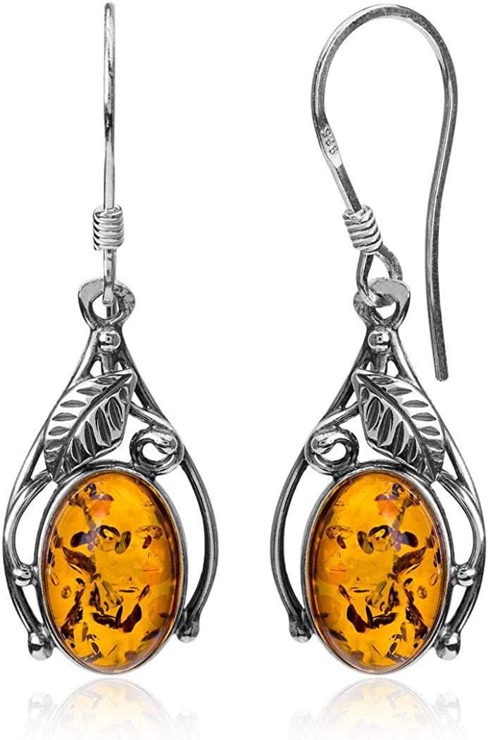Classic amber dangle earrings