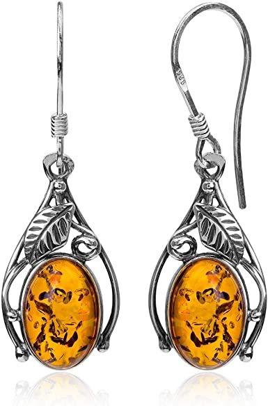 Oval Treated Amber Dangle Earrings Sterling Silver SaLe sALe