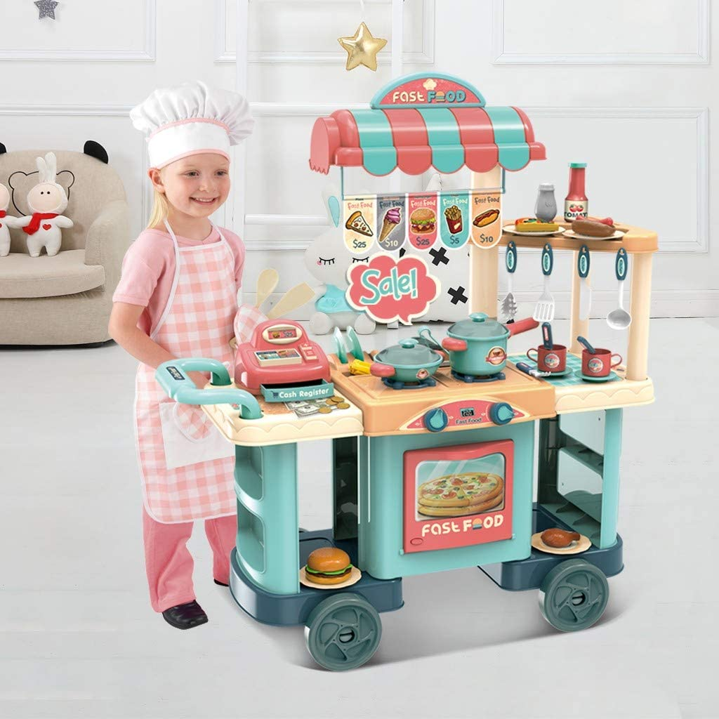 Large Plastic Play Kitchen - with Realistic Lights & Sounds,Kids Kitchen Grocery Playset with Kitchen Accessories Set,Pretend Play Food Set Toy (Multicolour)
