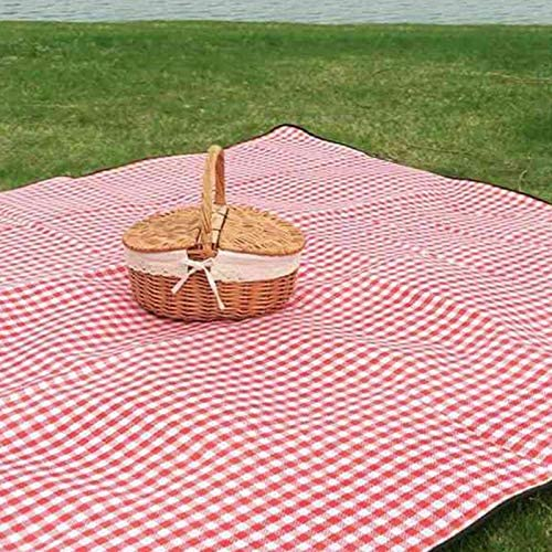 Essenc Handmade Wicker Basket with Handle Wicker Camping Picnic Basket with Double Lids Storage Hamper Basket with Cloth Lining