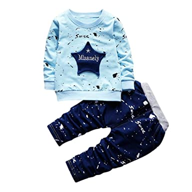 2d20a495c 2Pcs/Set Toddler Kids Baby Boy Star Print T-Shirt Tops Denim Pants Outfits