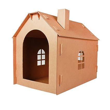 L&XY Casa De Gato Corrugado Casa De Gato Gato De Juguete Cartón Reciclable DIY Casa De