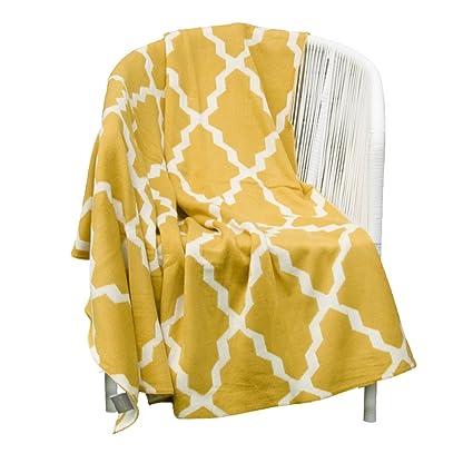 Mustard Yellow Throw Blanket Amazing Amazon Battilo Soft Knitted Geometric Patterns Throw Blanket
