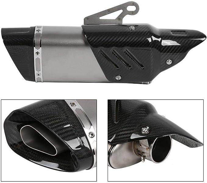 Duokon Silencieux Universel pour moto,Pot D/échappement Slip-on en fibre de carbone Racing avec Accessoires de Montage 51mm Avec couverture