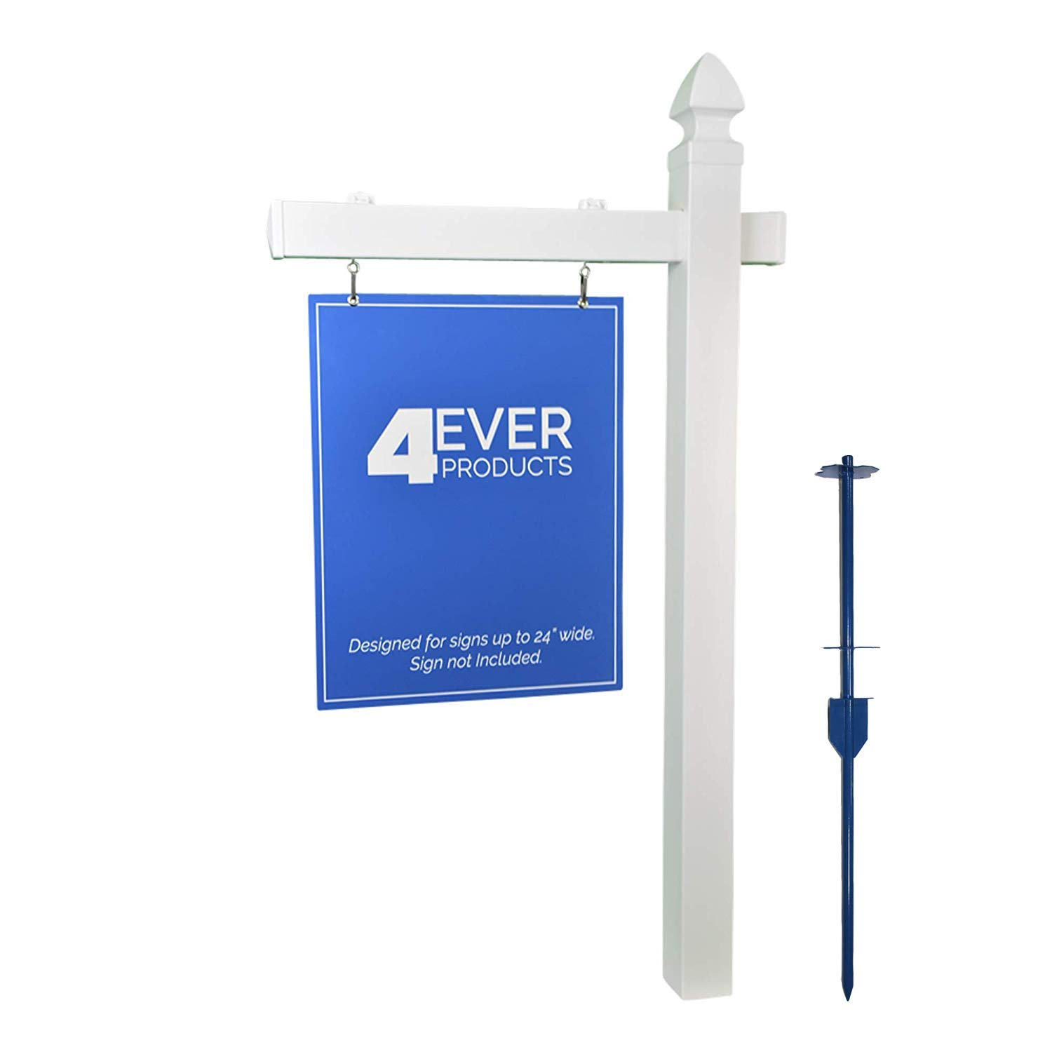 e7a8e676ad27 Amazon.com : 4EVER Vinyl PVC Real Estate Sign Post - White (Single) : Home  And Garden Products : Garden & Outdoor