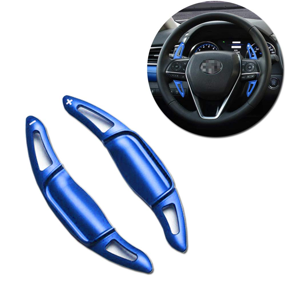 Aluminum Steering Wheel Paddle Shifter Extensions Covers For 2018 2019 Toyota Camry (Blue Matte Finish)