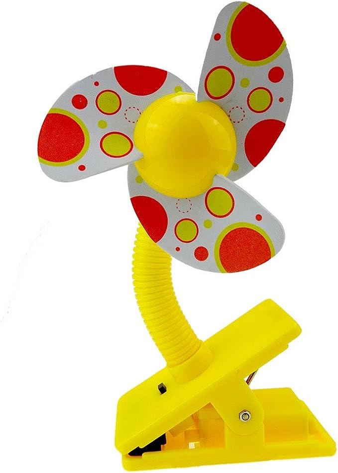 lits b/éb/é et parcs pour enfants-Jaune Clip-on Mini ventilateur pour poussettes