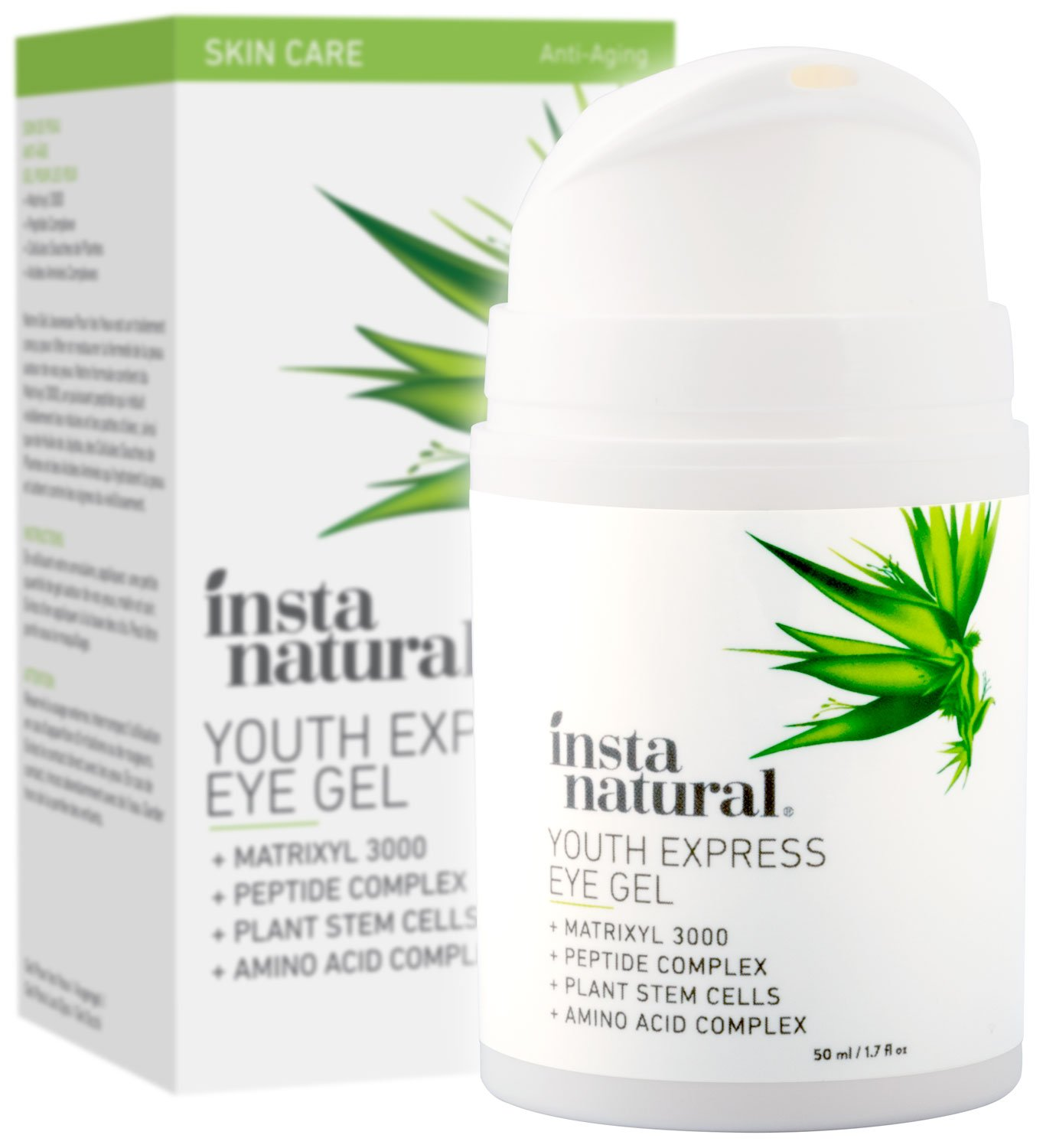 InstaNatural - Eye Gel Cream - Wrinkle, Dark Circle, Fine Line & Redness Reducer - Pure & Organic Anti Aging Blend for Men & Women with Hyaluronic Acid - Fight Bags & Lift Skin Under Eyes - 1.7 oz