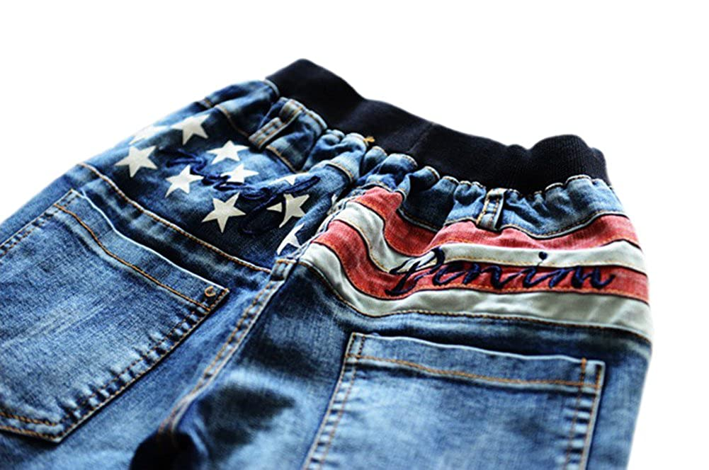 Tortor 1Bacha Kid Boys Star Stripe Print Washed Jeans Elastic Waist Denim Pants