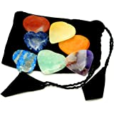 Chakra Stones -- Heart Shaped Chakra 7 Stones - Chakra Set - with Rock Paradise Exclusive Certificate of Authenticity (AM2B5-05)
