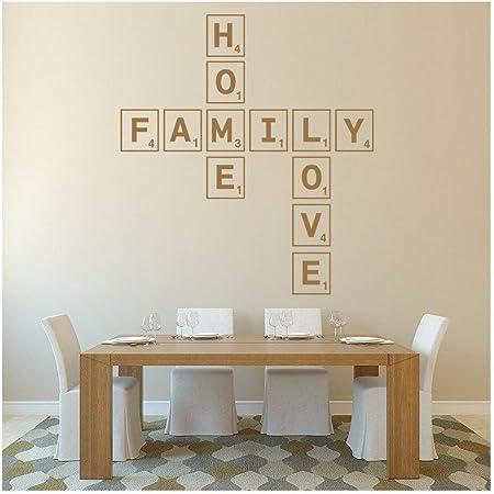 azutura Amor de la Familia Amor Vinilos Azulejo del Scrabble Pegatina Decorativos Pared Cocina Decoración del hogar Disponible en 5 tamaños y 25 Colores X-Grande Blanco: Amazon.es: Hogar